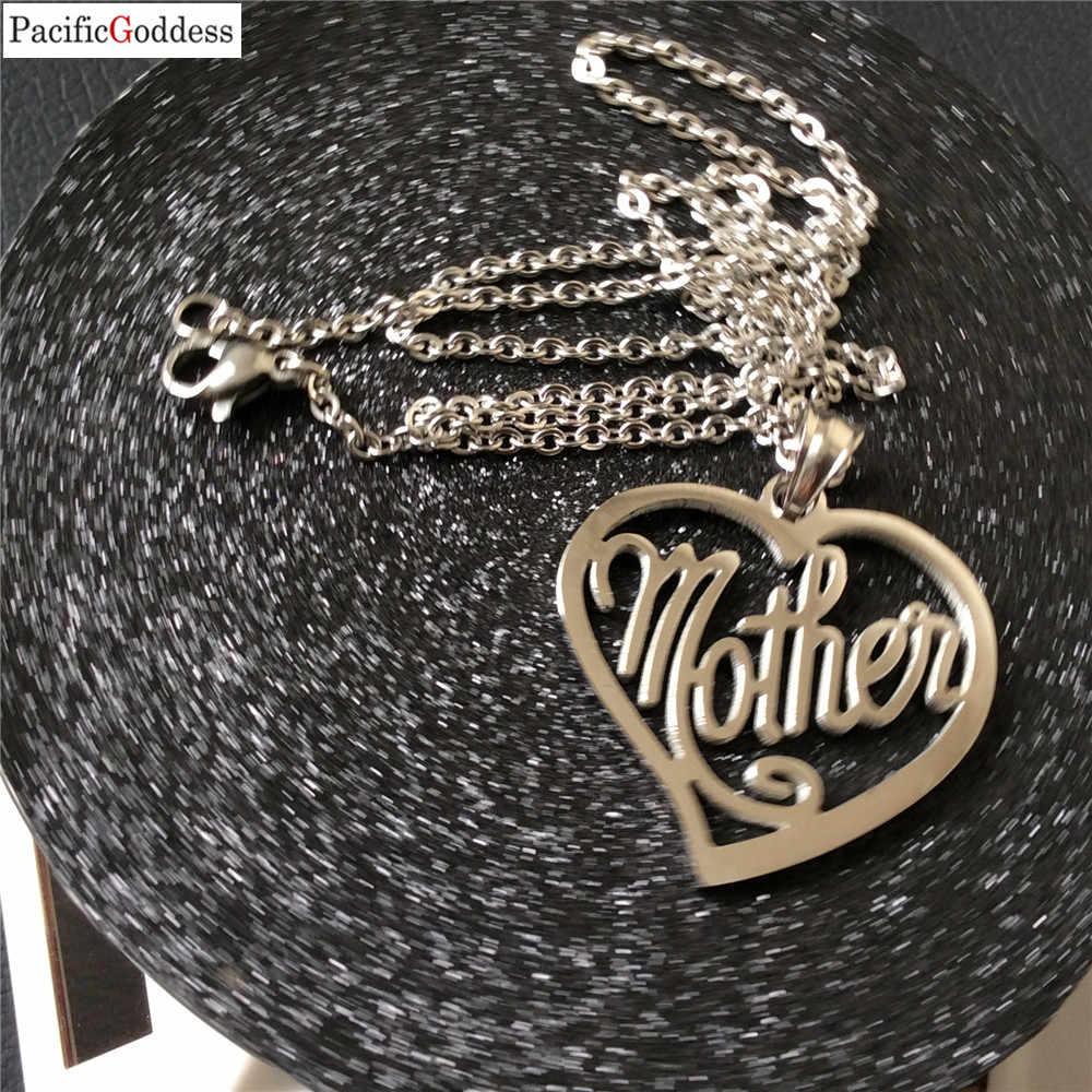 Amo A Mamã Mãe Presente Colar de Presente Para A Mãe MÃE Letras Pingente de Coração Colar de Jóias Por Atacado