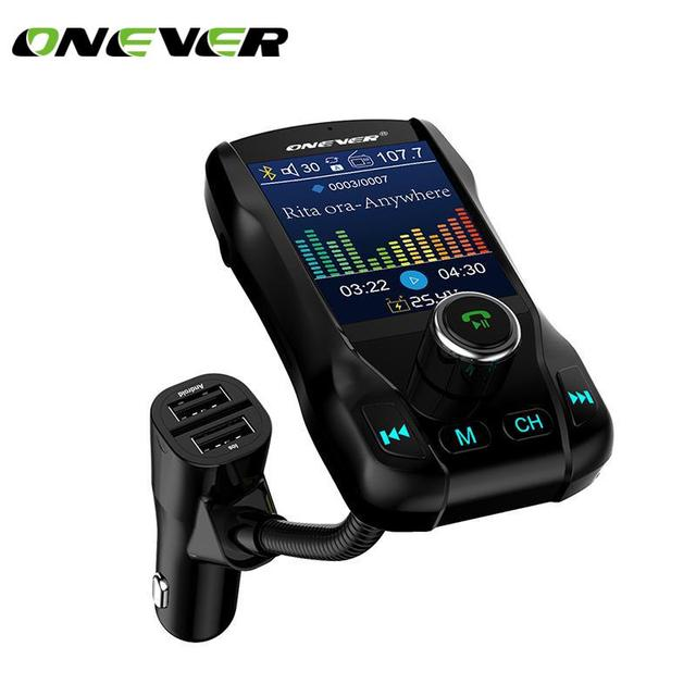 Onever FM Transmitter Wireless Bluetooth Handsfree Color Screen Car Kit 360 rotatable Car MP3 Audio with 5V 2.1A Dual USB Charge