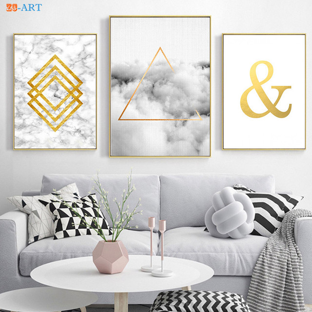 Geometric Cloud Glam Ampersand Print Black and White Poster Abstract ...