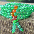 Natural 6mm  Green Agate beaded Bracelet Tibetan Buddhist 108 Prayer Beads Necklace Gourd Mala Prayer Bracelet for Meditation