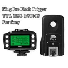 PIXEL King Pro Off-Camera Trådlös Flash Utlösarset Transceiver Sändarmottagare TTL HSS LCD-skärm med PC-port för Sony