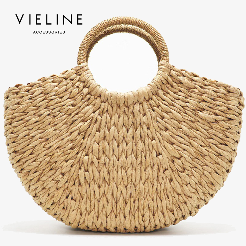 Us 22 4 30 Off Vieline Handmade Beach Bag Ins Straw Totes Women Natural Basket Handbag Summer Rattan In Top Handle Bags From Luggage