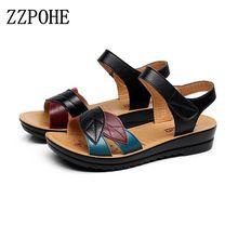 2017 sommer neue mutter sandalen weichen boden rutschfeste flache mit mittleren alters mode sandalen flache bequeme damenschuhe 35 41