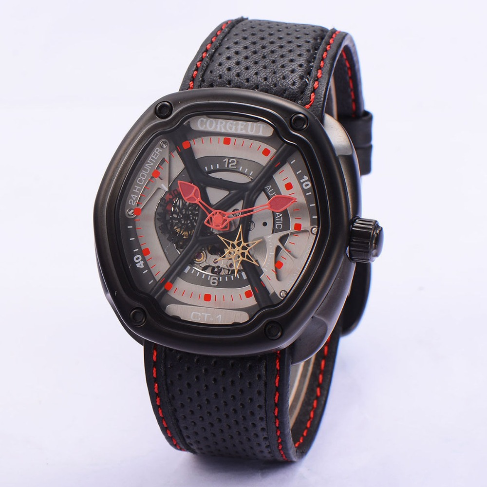 Corgeut 46 mm Black PVD Case Gray Dial Red hands leather strap Japan Miyota Automatic Mens water resistant wristwatches CA2009PR corgeut 44mm wristwatches rose gold case white dial coffee leather strap hand winding 6498 water resistant men watches cm2005b