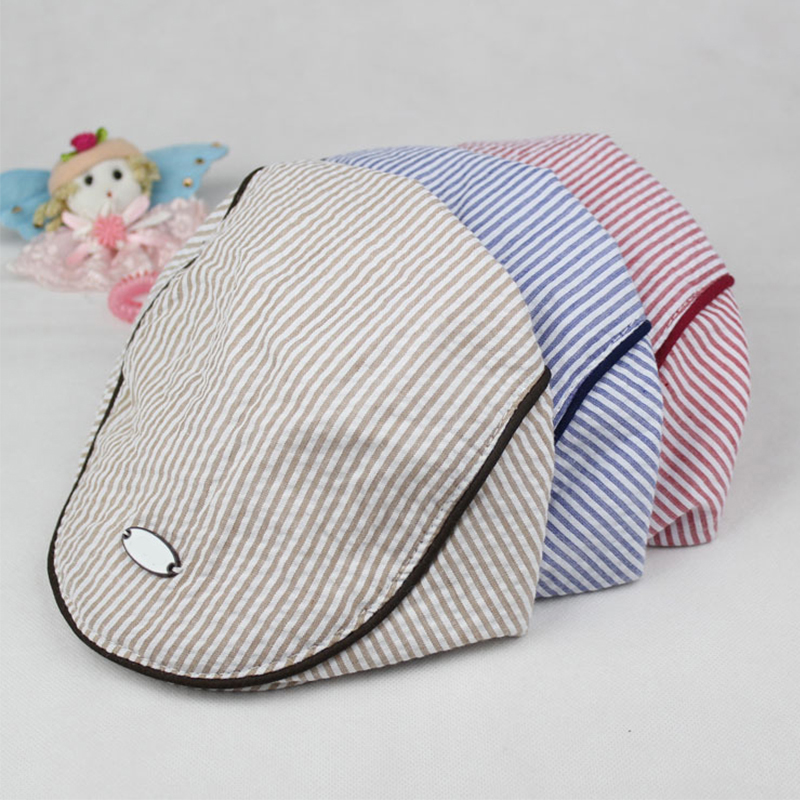 US Fashion Kids Baby Girl Boy Beret Hat Peaked Cap Child Striped Caps Hats