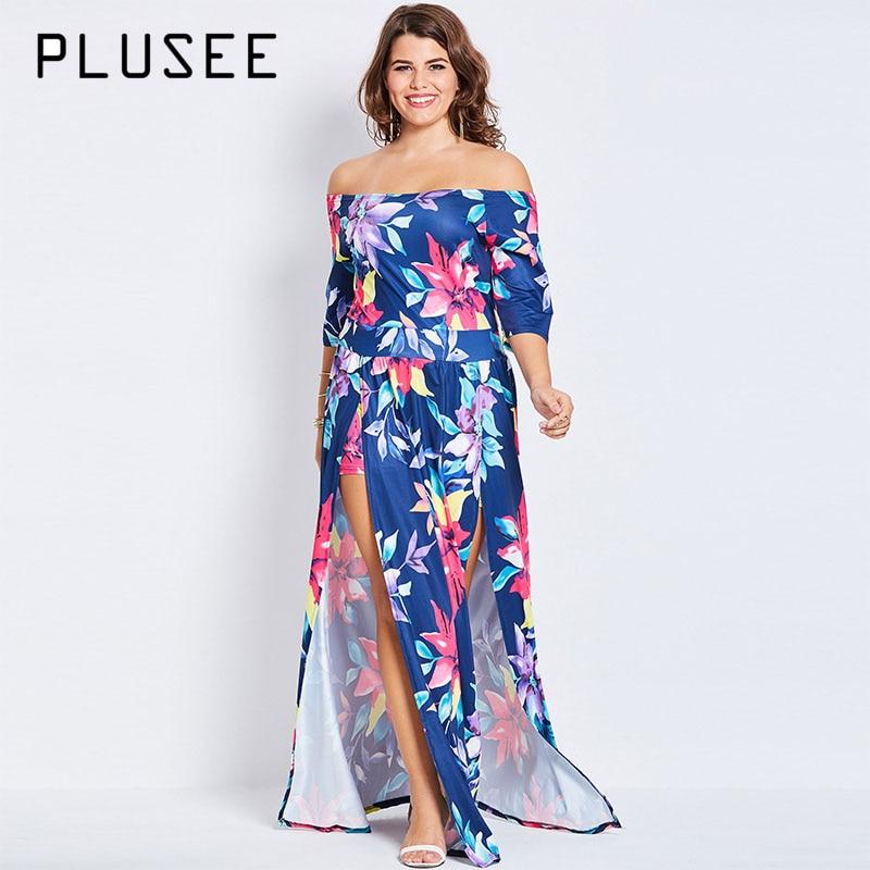 552e37eb767 Detail Feedback Questions about Plusee Plus Size Bohemian 4XL 5XL Women  Boho 2017 Blue Sexy Floral Asymmetrical Slash Neck Summer Party Dress Plus  Size ...