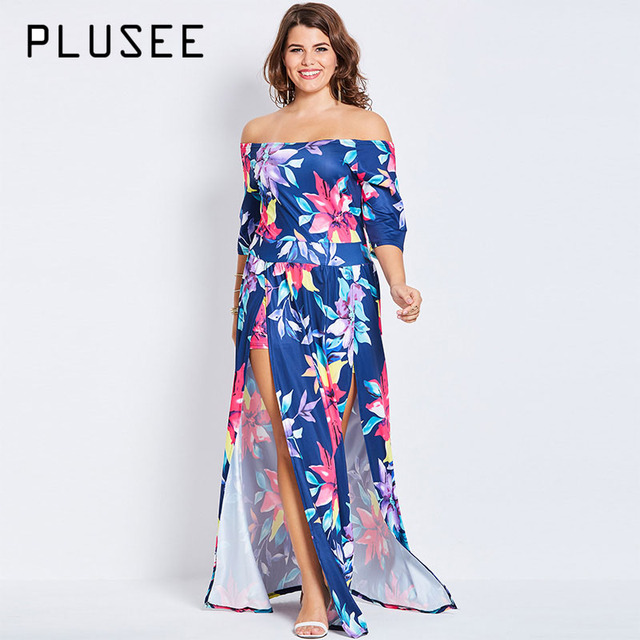 Plusee Plus Size Bohemian 4XL 5XL Women Boho 2017 Blue Sexy Floral  Asymmetrical Slash Neck Summer Party Dress Plus Size Dresses dfc0f9c9cefa
