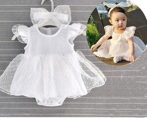 Одежда для новорожденных девочек 0-3 месяцев, боди + повязка на голову, реквизит для фотографии, платье для крещения и дня рождения для детей ...