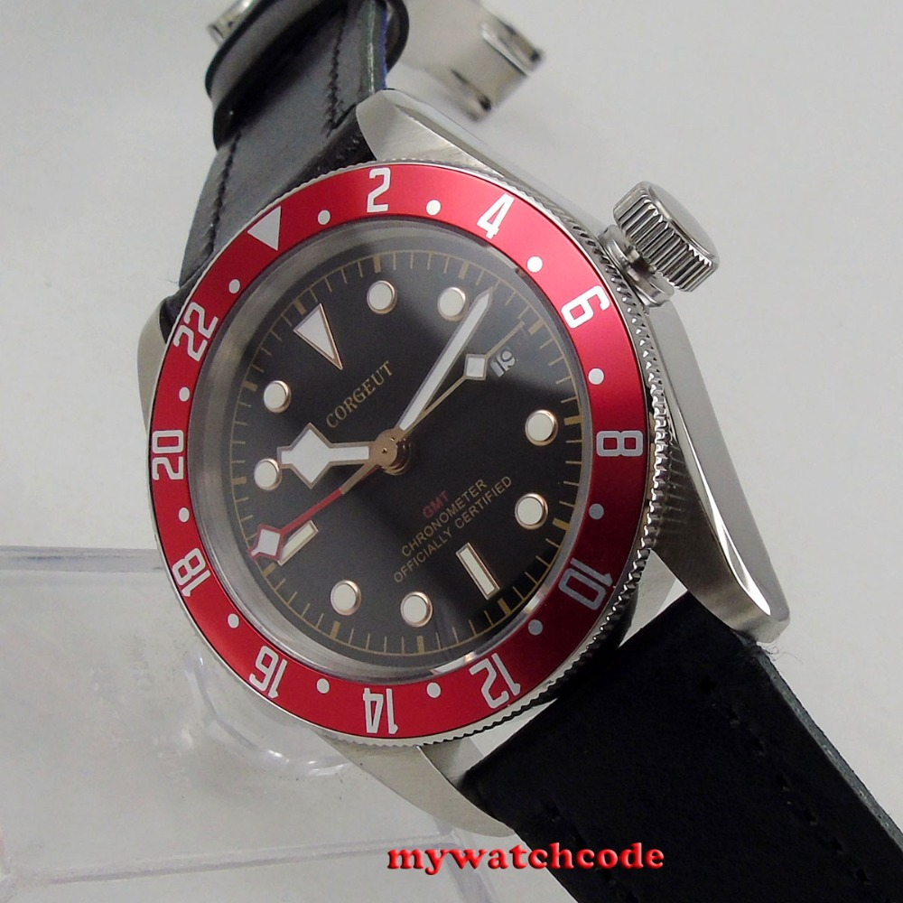 41mm corgeut black dial silver marks GMT Sapphire Glass Automatic mens Watch цена и фото