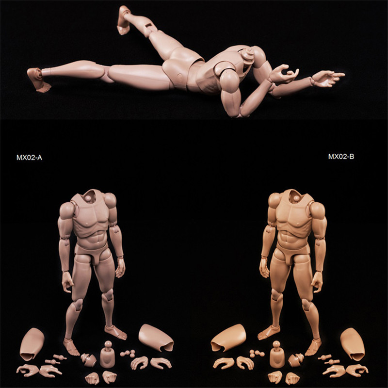 Mnotht 1/6 12in Male Solider Body Model 1/6 Action Figure Male Body Caucasian Skin MX02-A Collection Toys L30