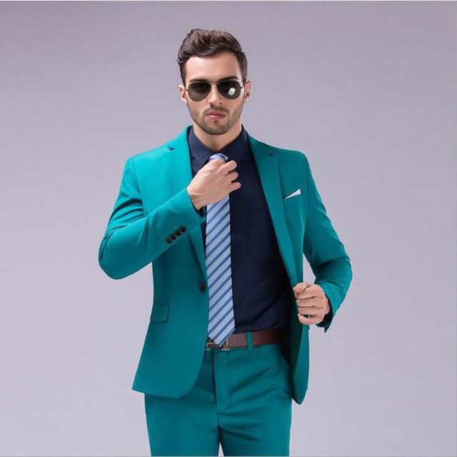 (Jaqueta + calça) 2016 Nova primavera dos homens da marca slim fit ternos de negócio um tow-piece/Masculino bom noivo vestido/homens Blazers