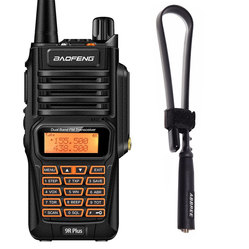 Baofeng UV-9R Plus 8 W Puissance IP67 Étanche À La Poussière Talkie Walkie et Tactique Antenne Longue Portée Radio Bidirectionnelle