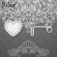 Ear Stud Earings Heart Mother of Pearl,925 Sterling Silver Jewelry Romantic Gift For Women Girls 2019 New Earrings thomas