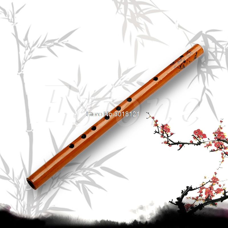 Fee Shipping Wholesale Traditional 6 Hole Bamboo Flute Clarinet Student Musical Instrument Wood Color