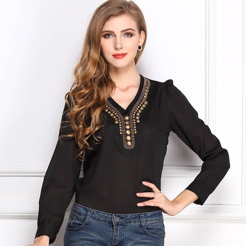 Newest Womens Stylish Y Type V Shirt Collar Color Woman Blouse Copper Long Sleeved Lady Casual Solid Chiffon Blouse Black White