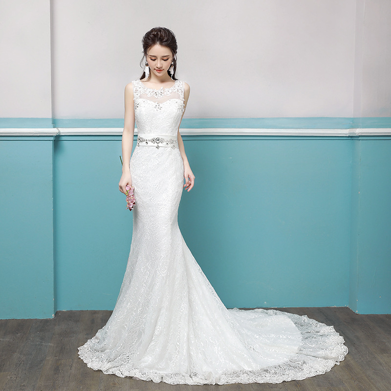 Holievery Scoop Neck Lace Mermaid Wedding Dresses With