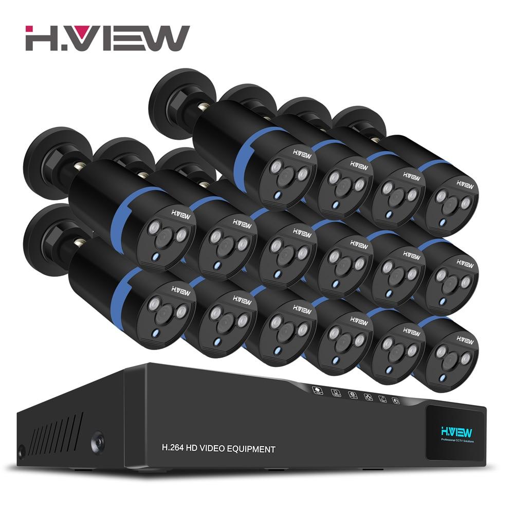 H. Ansicht 16CH Überwachung System 16 1080 P Outdoor-überwachungskamera 16CH CCTV DVR Kit Videoüberwachung iPhone Android Remote View