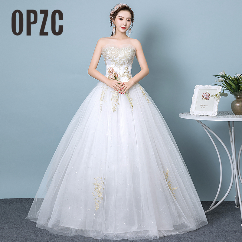 New Arrival Sexy Strapless Wedding Dresses 2018 Appliques Pattern Tulle Bridal Gowns Pears Beading Robe de