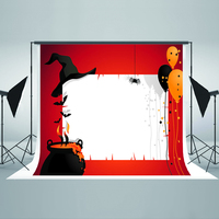 Halloween Photography Backdrops Black Hat Balloon Computer Printing Backdrops Bat Spider Background for Photographic Studio