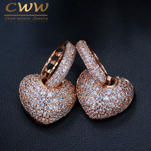 CWWZircons Micro Pave Cubic Zirconia High Quality Lovely Cute Rose Gold Color Small CZ Hoop Heart Earrings For Women CZ038