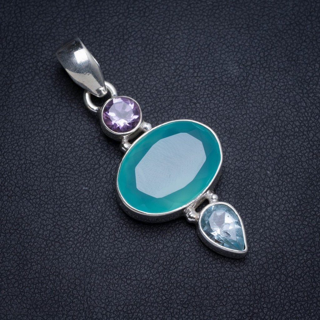 Natural Chalcedony Blue Topaz and Amethyst Handmade Unique 925 Sterling Silver Pendant 1.75 X0117Natural Chalcedony Blue Topaz and Amethyst Handmade Unique 925 Sterling Silver Pendant 1.75 X0117