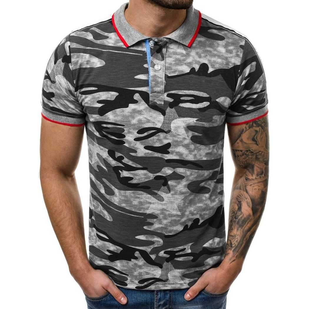 Laamei Casual Camouflage Slim Fit Polo Shirt Men Short Sleeve Cotton Camo Tee Tops 2019 Brand Turn Down Collar Shirts Male