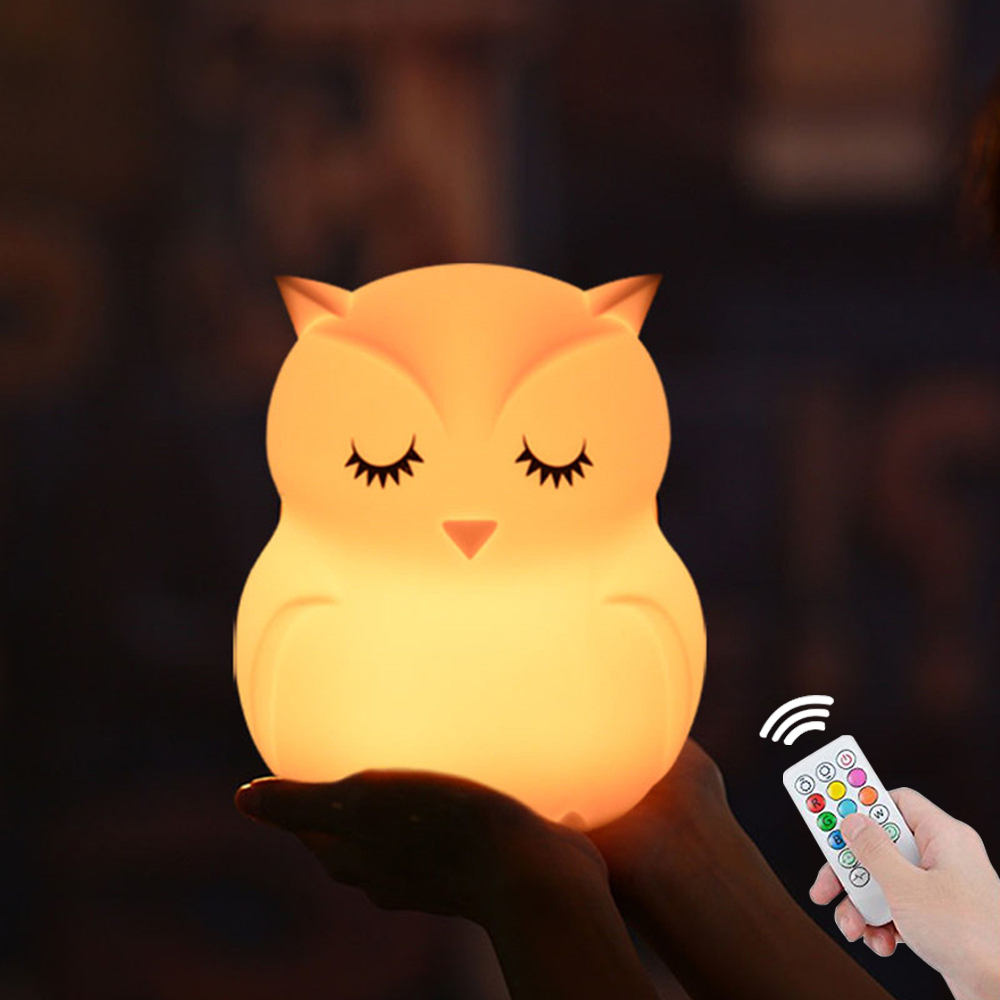 Owl LED Night Light Remote Control Touch Sensor 9 Colors Dimmable Timer USB Cartoon Silicone Bedside Lamp For Children Kids Baby