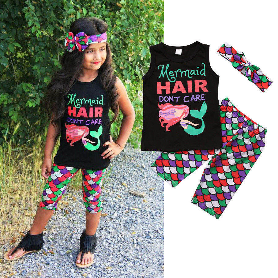3PCS Mermaid Baby Kids Girl Clothing Set Sleeveless Vest Top T-shirt Shorts Headband Cute Outfits Set Girls Clothes flower sleeveless vest t shirt tops vest shorts pants outfit girl clothes set 2pcs baby children girls kids clothing bow knot