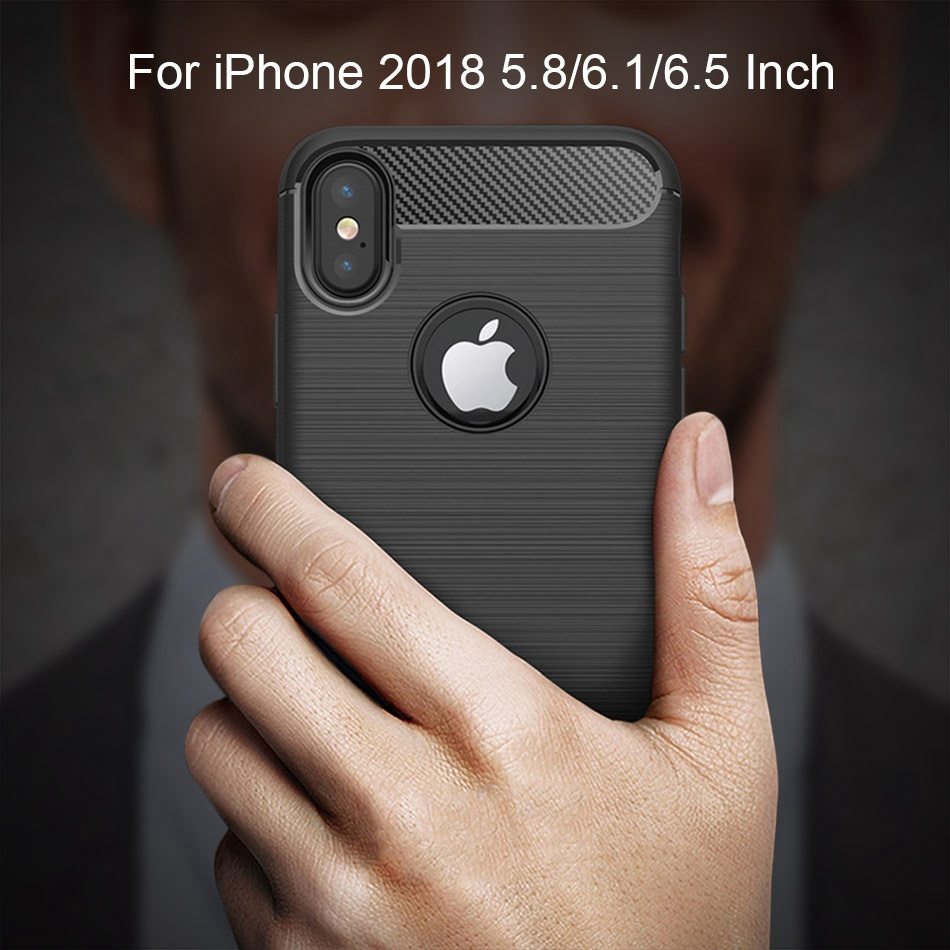 TOMKAS Phone Case Carbon Fiber Cover For iPhone XS Plus X 2018 5.8 6.1 6.5 Inch Soft TPU Silicon Case Protective Back Cover 2018 (3)
