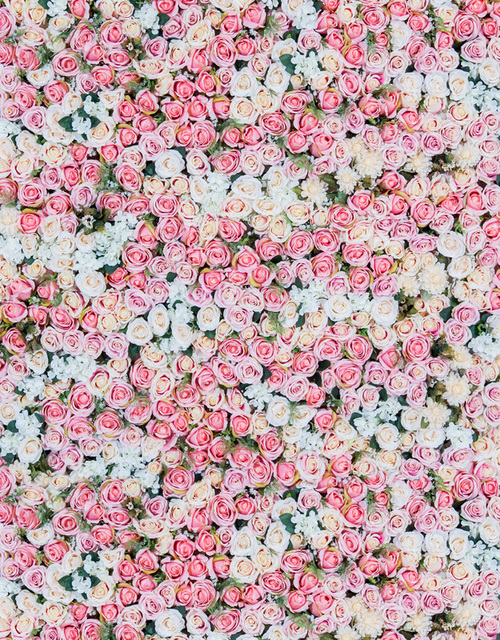 5x7ft Vintage White Light Pink Flowers Bud Wall Bouquet Custom Photo