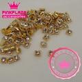 20PCS/Lot 5*6MM Gold Square Alloy Nail 3D Decoration Rhinestones Nail Round Jewelry Charms DIY Nail Art Supply 657