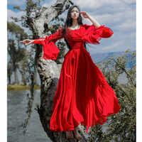Red Women's Vintage Flare Sleeve Fold High Waist Elegant Chiffon Mid Dress Big pendulum Bohemian Beach Long White Female Dress
