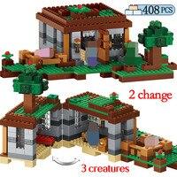 408pcs my world The First Night Adventure Shelter Model Building Blocks Legoed Minecrafted Village Bricks Toys for Children