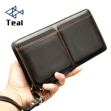 цена на Brand Wallets With Coin Pocket Long Zipper Coin Purse for Men Clutch Business Male Wallet Zipper Vintage Large Wallet