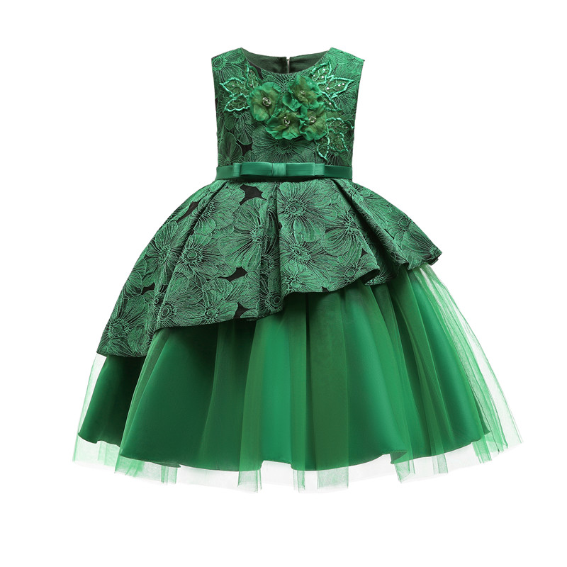 VKBRIDAL Green Lace Beaded Ball Gown   Flower     Girl     Dresses   with Big Bow Tulle   Girls   Pageant   Dresses   First Communion   Dresses
