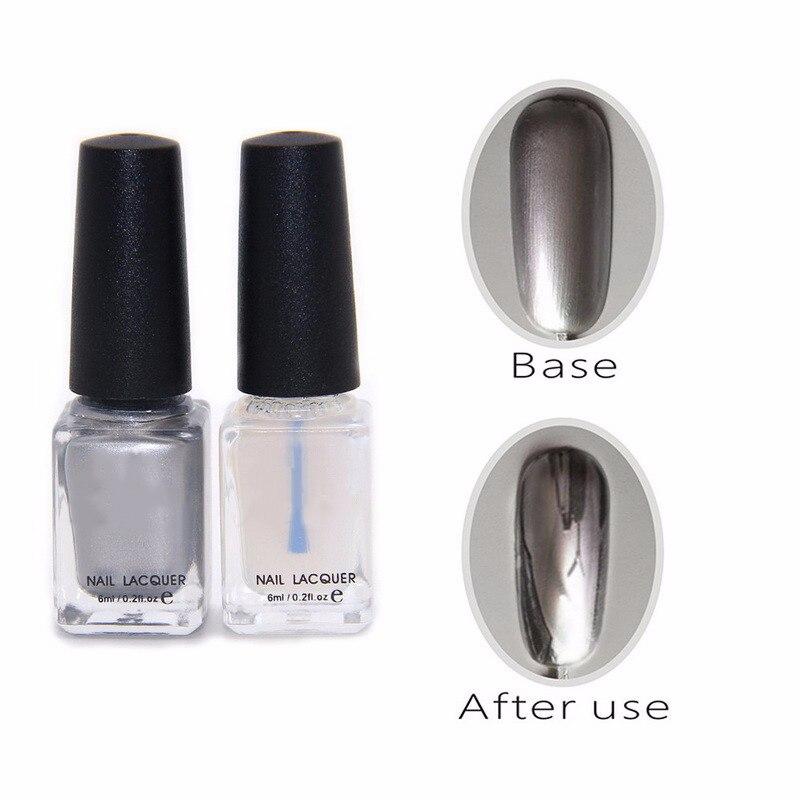 2pc/lot Behind Silver Mirror Effect Metal Nail Polish
