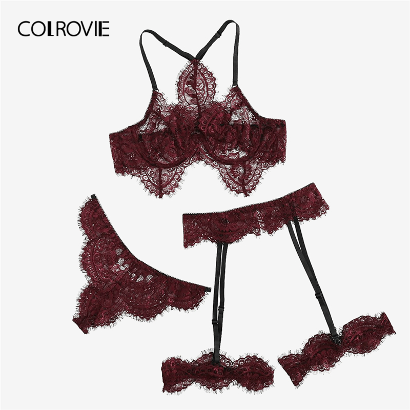 COLROVIE Burgundy Eyelash Lace Garter Floral Lace Intimates Sexy Lingerie   Set   Underwear Black Women Wireless Transparent   Bra     Set
