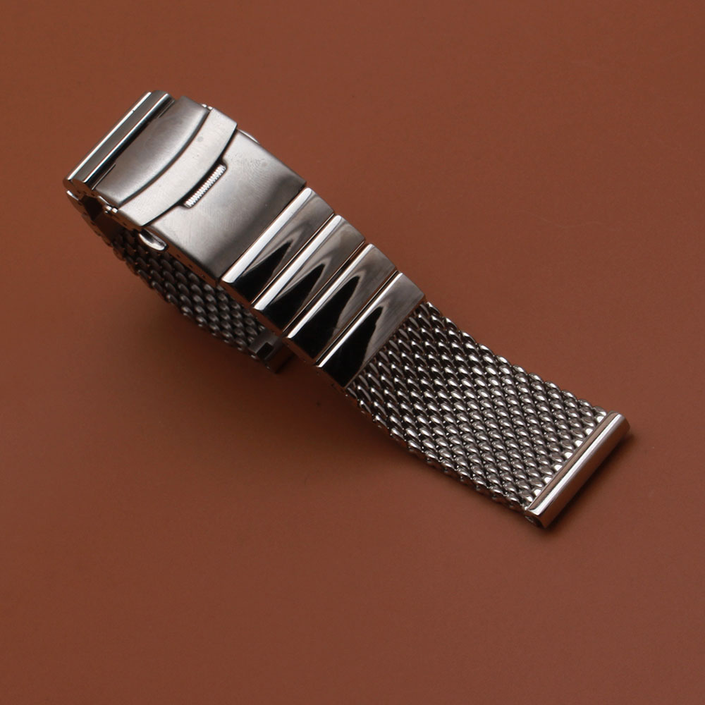 new 22 mm Watch Band Strap Cool Shark Mesh Stainless Steel Link metal watchband Silver Button