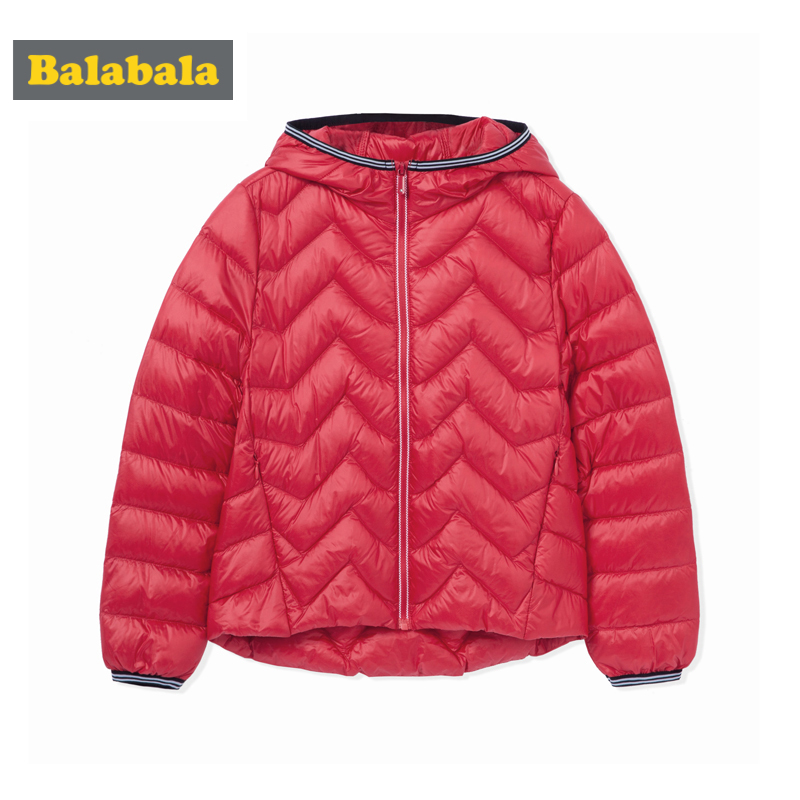 Balabala Girl Short Quilted Lightweight Down Jacket with Zip Hooded Puffer Jacket with Slant Pocket Chinlon