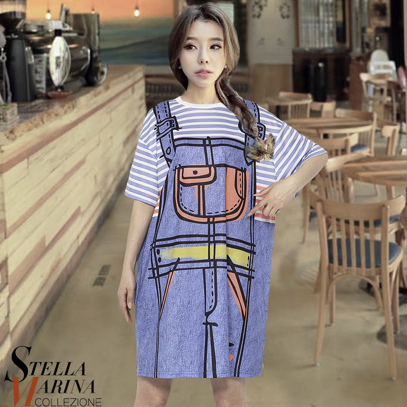 2017 nuevas mujeres coreanas primavera azul impreso dress o-cuello corto manga d