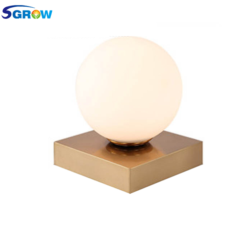 SGROW Glass Ball Table Lamp with G9 Light Source Indoor Lighting Gold Metal Base Stand Desk Lights for Bedroom Dinning Room Lamp ...