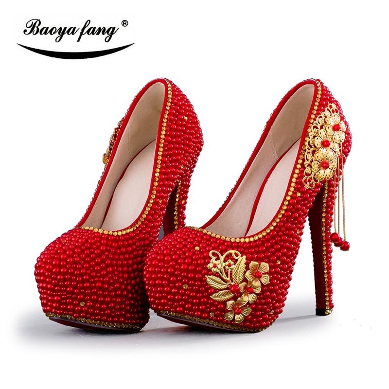 BaoYaFang red beads Tassel women wedding shoes Bride 8cm/11cm/14cm platform shoes high shoes ladies big size Pumps woman shoes baoyafang new fashion womens wedding shoes high heels platform shoes 8cm 11cm 14cm big size 43 woman thin heel pumps