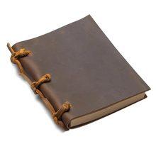 vintage Blank Diaries Journals notebook note book rope traveler thick genuine leather caderno espiral weekly planner death