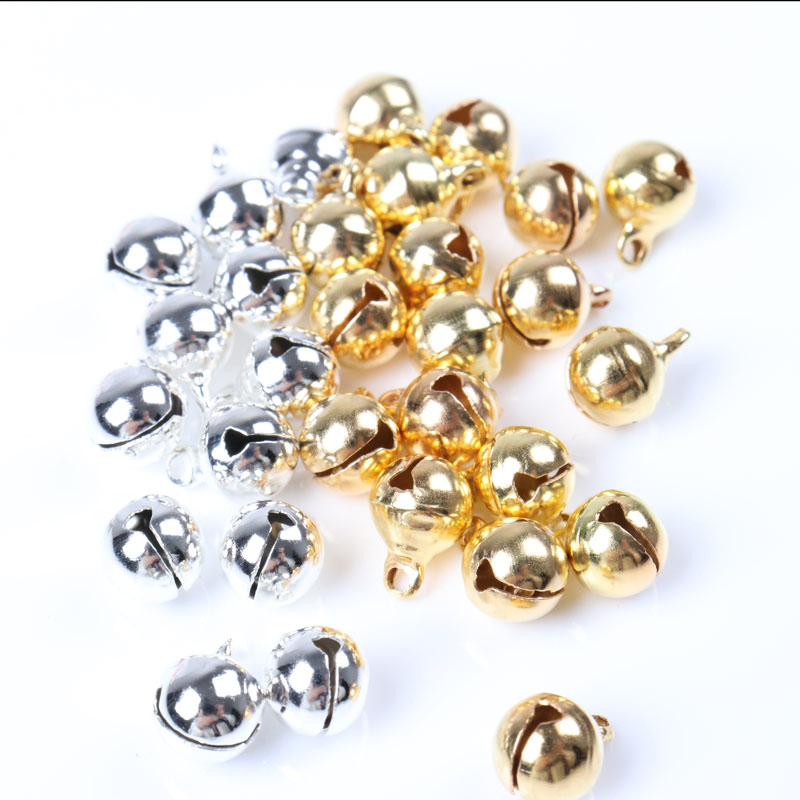 10pcs 8mm Jingle Bells Gold Silver Plated Copper Loose Beads Small For Party Christmas Tree Ornamen Decoration Home Accessories