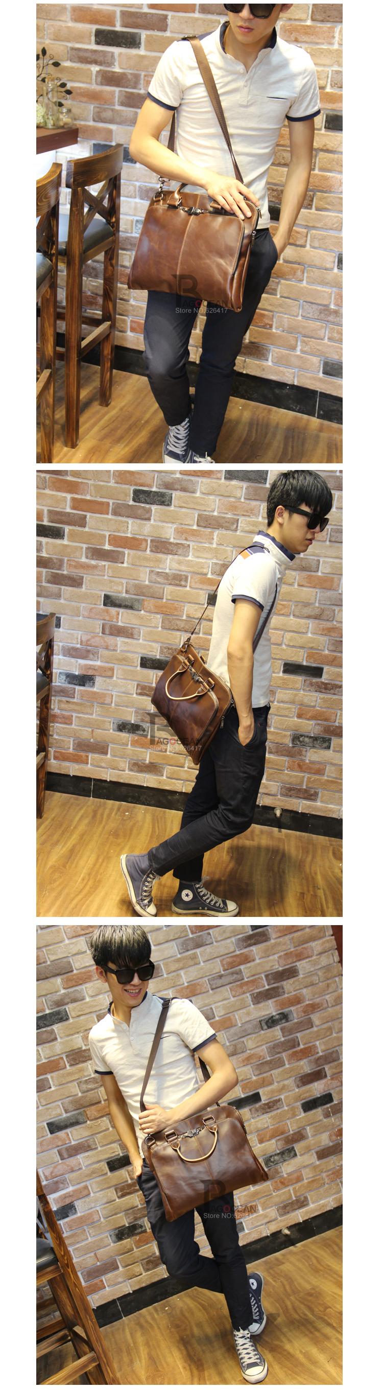 "New high quality pu leather Shoulder leisure men's bag business messenger portable briefcase Laptop large Purse 14"" Handbag 9"