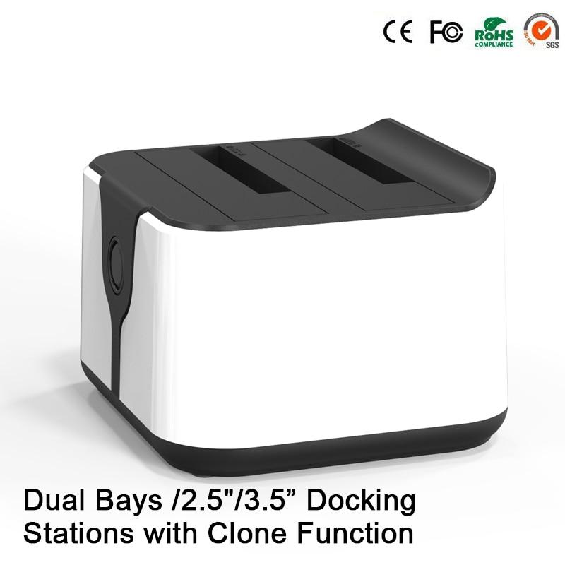 HD05 Amélioré! 2 baies 2.5/3.5USB 3.0 à SATA HDD SSD Station d'accueil double baie Station d'accueil avec fonction Clone prise 12 to lecture - 4