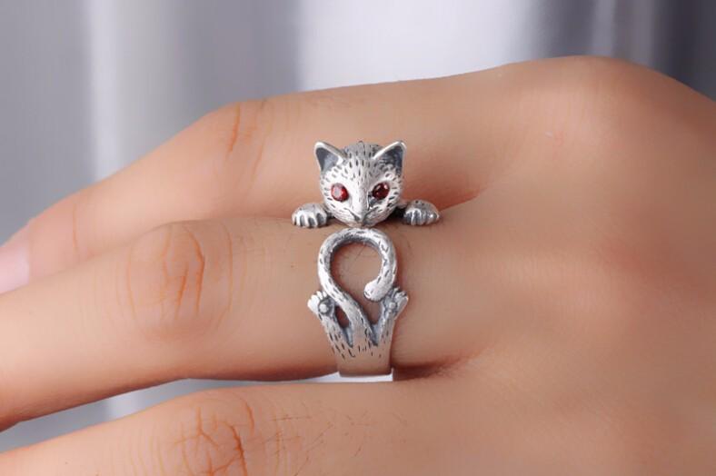 HIGH QUALITY RETRO STYLE CUTE CAT THAI SILVER RING-Cat Jewelry-Free Shipping HIGH QUALITY RETRO STYLE CUTE CAT THAI SILVER RING-Cat Jewelry-Free Shipping HTB1rrV6LXXXXXckXVXXq6xXFXXX2