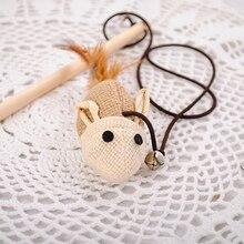 Экологической дразнить стержней столб конопли кошек мышь древесины деревянный животных игрушка