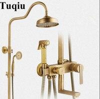 Luxury Bathroom Antique Bronze Square Rain Shower Set, Antique Shower Faucet Brass Bath & Shower Faucet Set, Wall Mounted