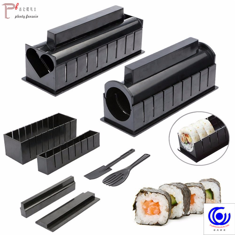 10 Pcs/set Plastic Sushi Maker Set Onigiri Mold Kits DIY Kitchen Safety Roller Bento Rice Paddle Accessories Tools
